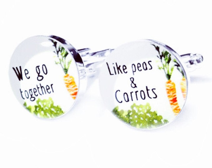 Peas & Carrots Custom Rustic Wedding Cufflinks, Personalized Cufflinks, Fiance - Grooms Gift, Anniversary or Wedding Gift