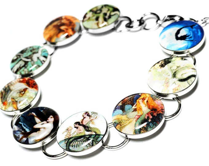 Mermaid Bracelet Siren Jewelry, Vintage Style Mermaid Jewelry, Handmade Resin Bracelet, Summer Jewelry, Mothers Day Gift