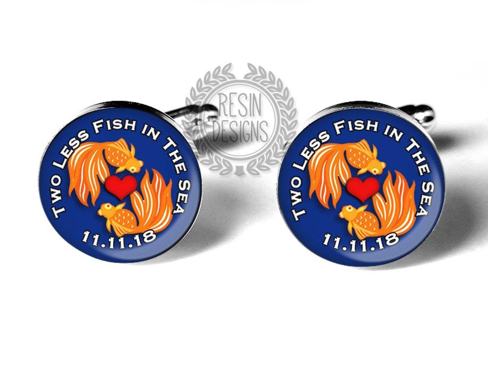 Two Less Fish In The Sea Cufflinks Fiance Cufflinks Wedding Gift