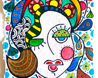 Abstract Face Art, Woman Face Painting, Fashion Illustration, Bright Colorful Lady, Figurative Painting, Colorful Woman, Abstract Face 9x12