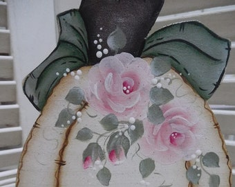 Ivory Wood Pumpkin, Hand Cut Wood, Hand Painted, Pink Roses, Shelf Sitter, Top Tray Filler, Fall Home Shabby Chic Decor Accent