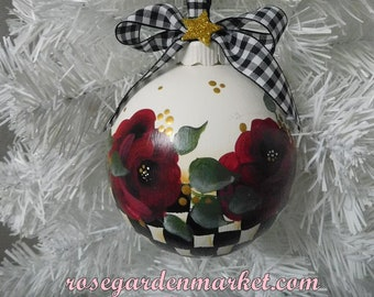 Medium Size Round  Ornament, Hand Painted with Red Roses, Stately Checks Black and White with Buffalo Check Ribbon and Gold Star, OOAK