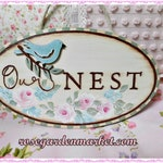 Our Nest Wood Sign with Engraved Words, Hand Painted Pink Roses, Layered Wood Bird, Home Accent, Cottage Display, Wreath Addition, ECS