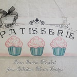 Bakery Wood French Cupcake Sign, Patisserie Hanging Wall Art, Hand Painted Cupcakes, Shabby Cottage,ECS