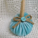 Small Aqua Velvet Pumpkin with Real Stem, Jute Ribbon, Vintage Button, Farmhouse Decor, Fall Accent, Shabby Cottage, Home Accent, ECS