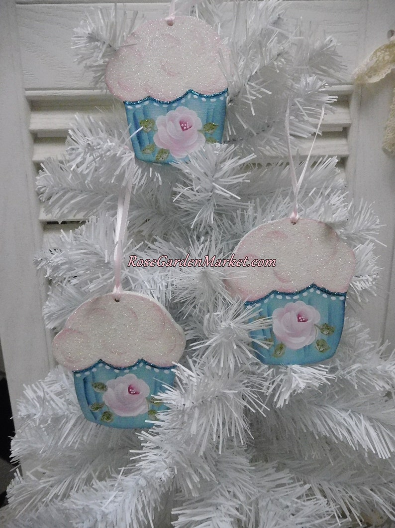Aqua Cupcake Hand Painted Rose Ornaments Set of 3 Hand image 0