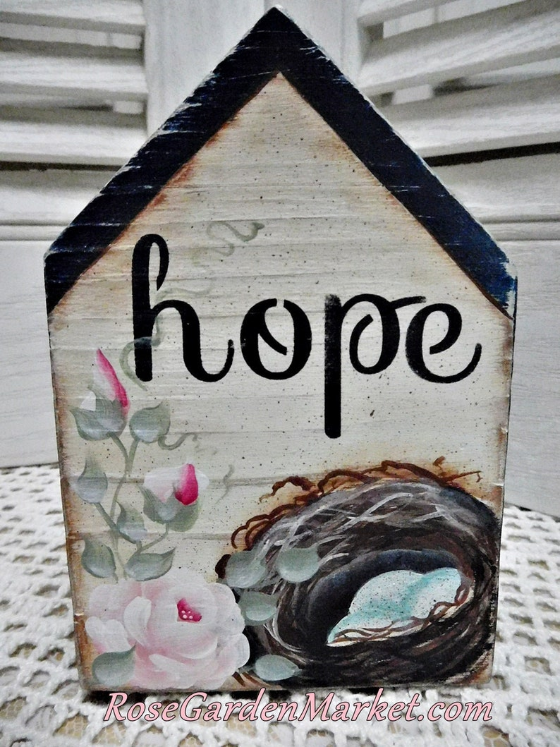 Hope Hand Cut Wood Block House with Hand Painted Nest Roses image 0