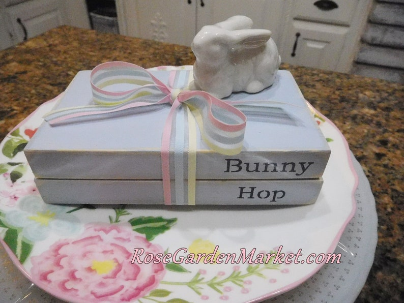 Book Stack Bundle Bunny Hop Light Blue with White Pink and image 0