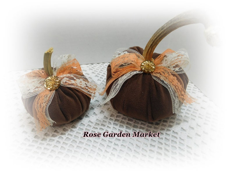 Brown Velour  2pc Pumpkin Set with Real Pumpkin StemLace and image 0