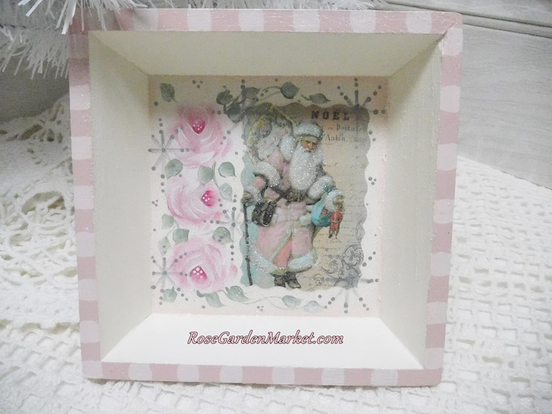 Small Shadow Box Tray Santa GraphicHand Painted Pink Roses image 0