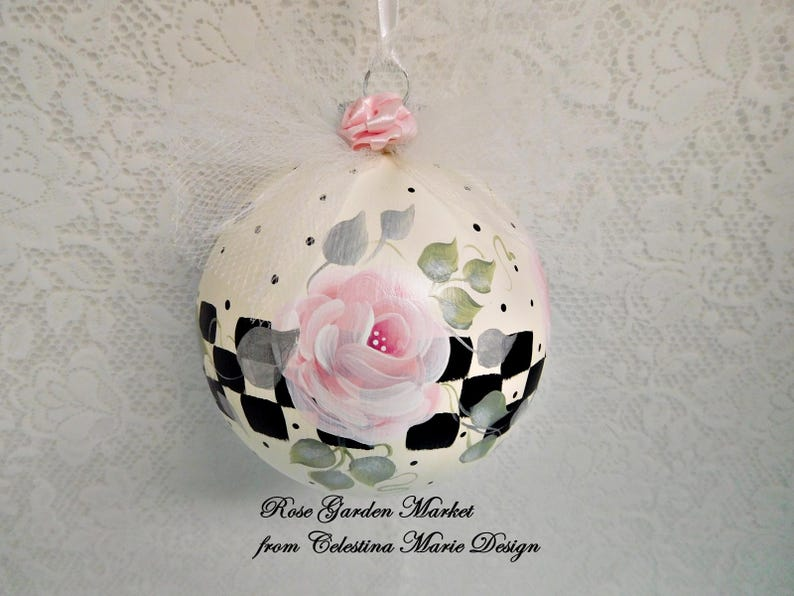 Stately Checked Pink Rose Glass Ornament Hand Painted Artist image 0