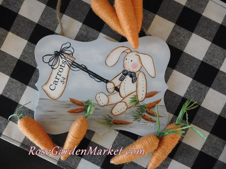 Carrots 5cents Hand Painted Bunny Sign Spring Decor Home image 0