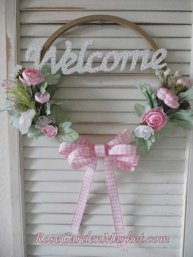 Hoop Round Welcome Sign Wreath Hand Created and Painted Pink image 0
