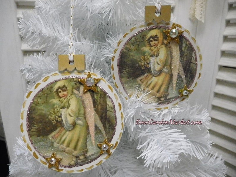 Angel in the Snow Wood Ornament 2pc Set Graphic Design with image 0