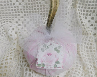 Small Pink Plaid Pumpkin with Real Stem, Tulle, Wood Rose Tag, Home Decor, Shabby Cottage Fall Decor, Autumn Accent, ECS