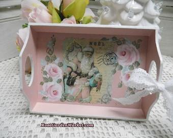 Blush Pink Noel Santa Wood Tray, Cottage Roses, Christmas Decor, Holiday Display, Graphic Design, Pink Coat Santa, Glittered and Stripes