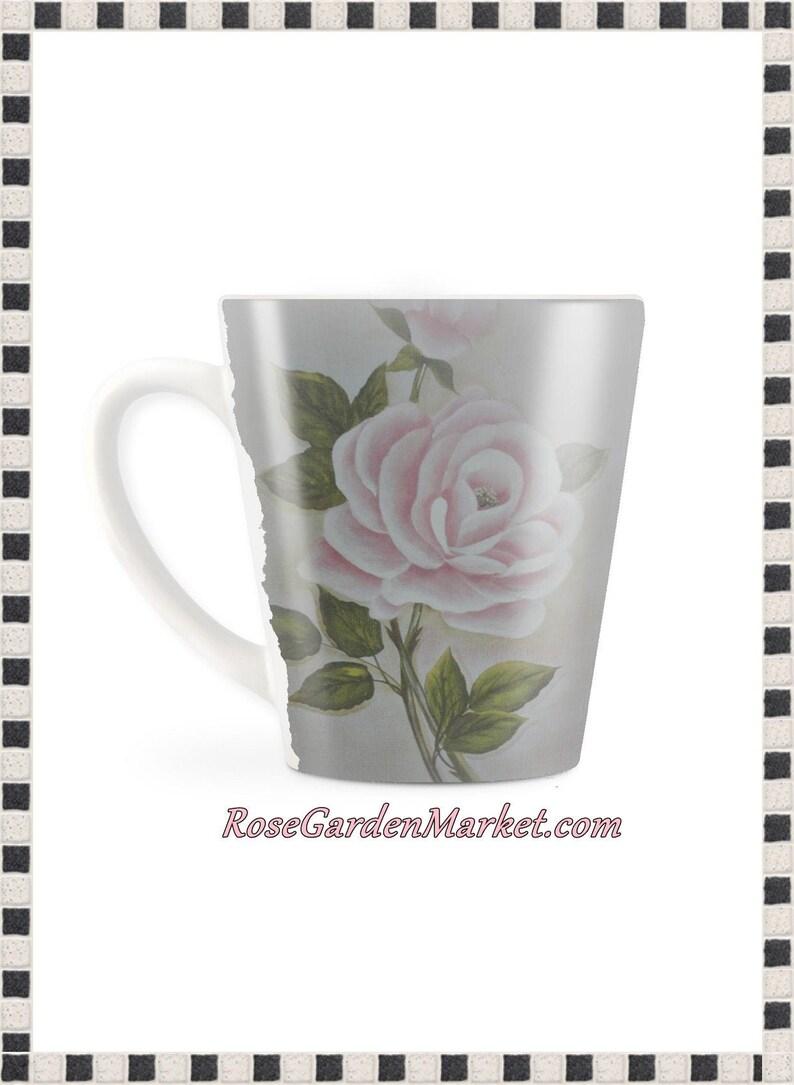 Designer Latte Mug Set of 2 with Hand Painted Pink Rose OOAK image 0