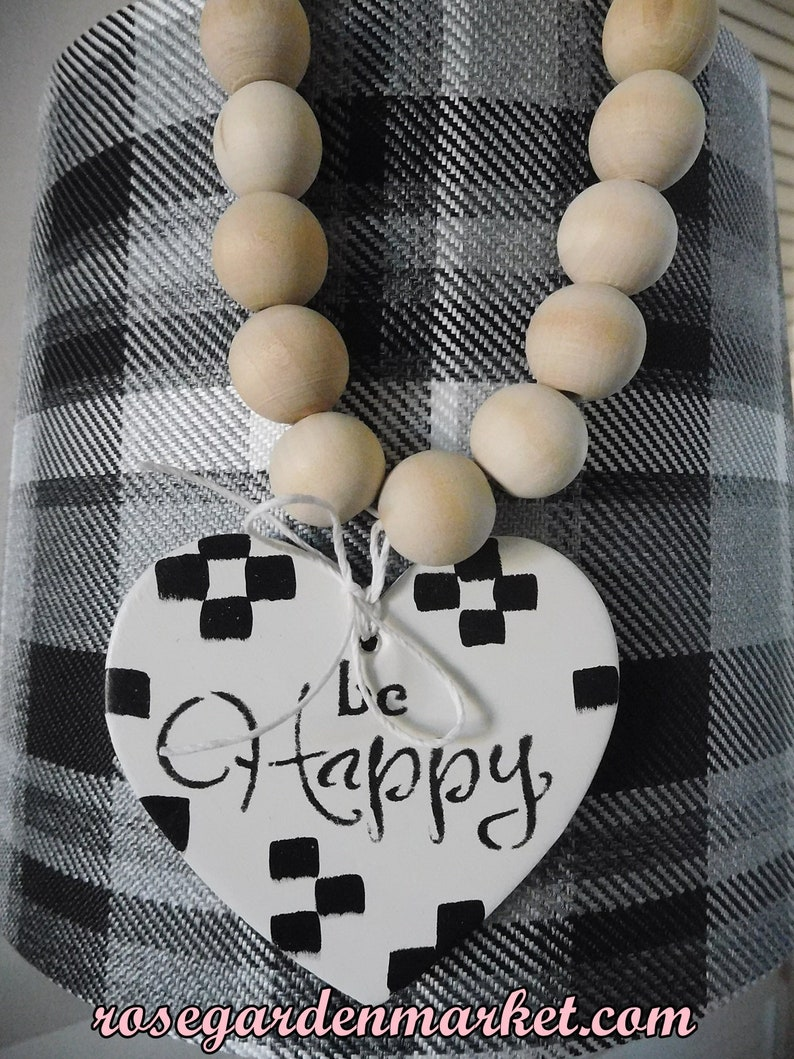 Beads and Heart Compliment Decor with Hand Painted Heart and image 0