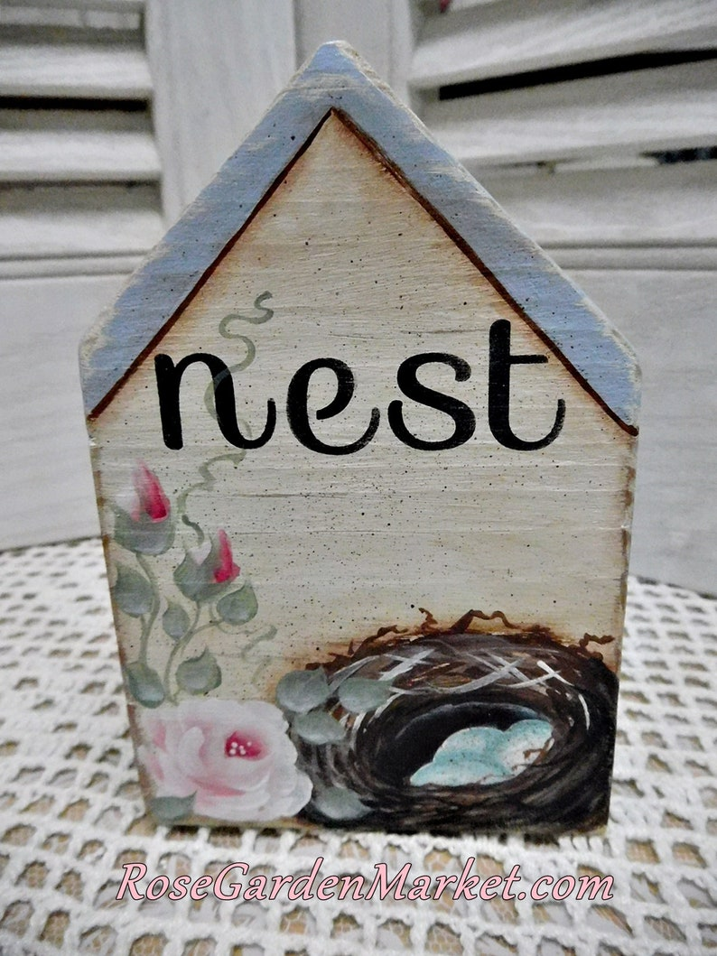 Nest Hand Cut Wood Block House with Hand Painted Nest Roses image 0