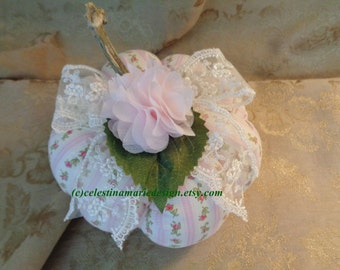 Pink Medium Sized Fabric Rose and Stripes Pumpkin, Hand Created, Sewn, Original, Fall Decorating,Home Decor, ECS
