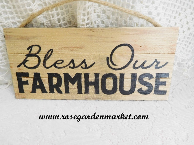 Bless Our Farmhouse Hand Painted Checks Distressed Wood image 0