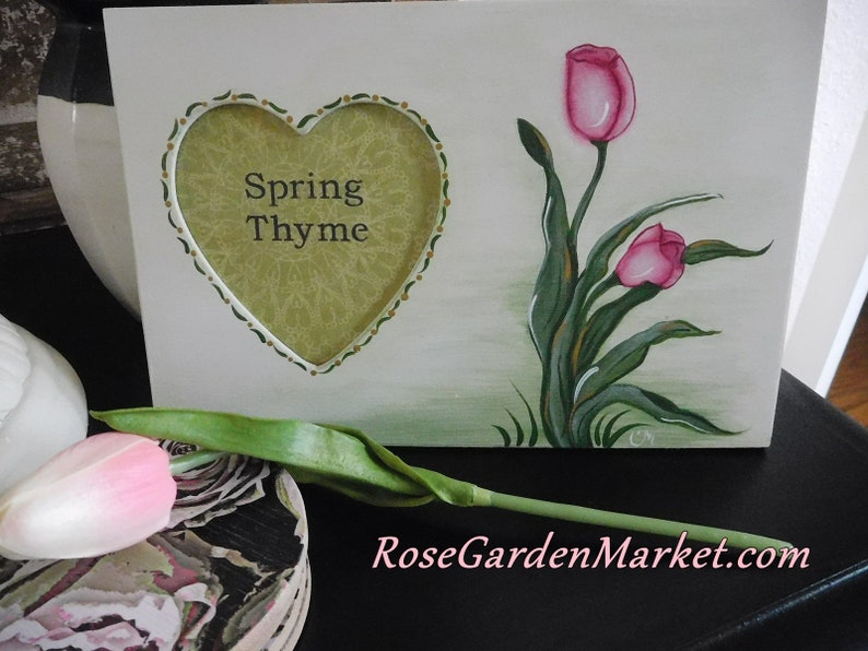 Wood Heart Cut Out Frame with Hand Painted Springtime Tulips image 0