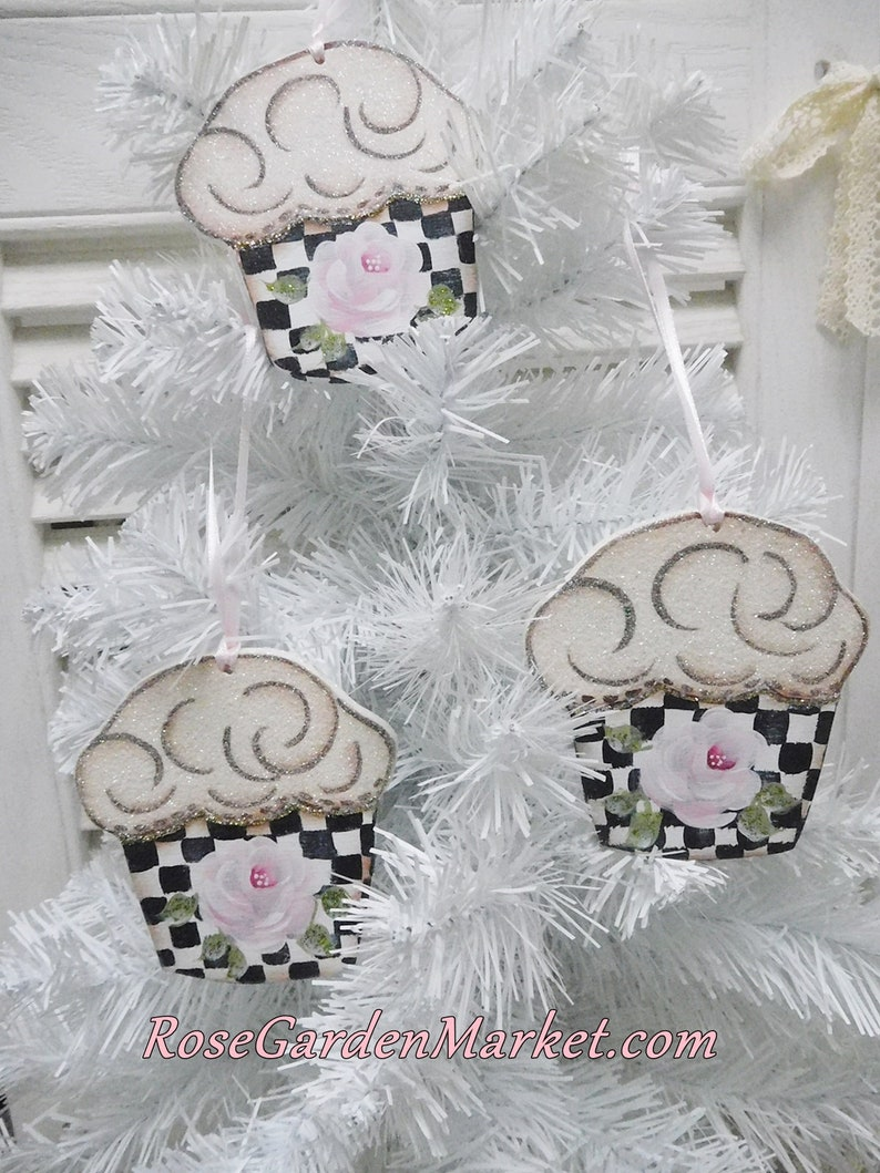Cupcake Hand Painted Rose Ornaments Set of 3Stately Checks image 0