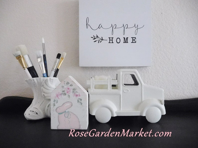 Shabby Cottage Block House Hand Painted Bunny with Pink image 0