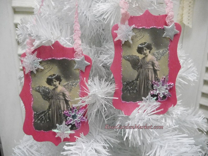 Christmas Angel Wood Ornament 2pc Set Shimmer Pink with image 0