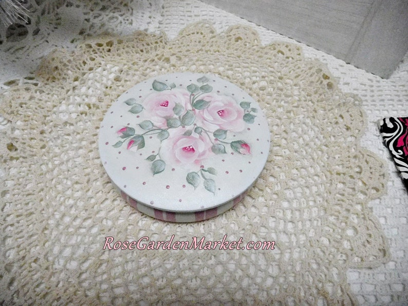 Round Wood Box Hand Painted with Shabby Pink Roses Storage image 0