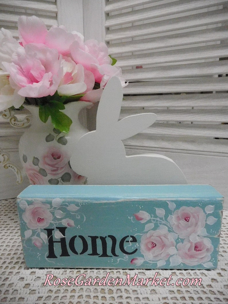 Home Wood Aqua Block Sign Hand Painted Pink Roses image 0