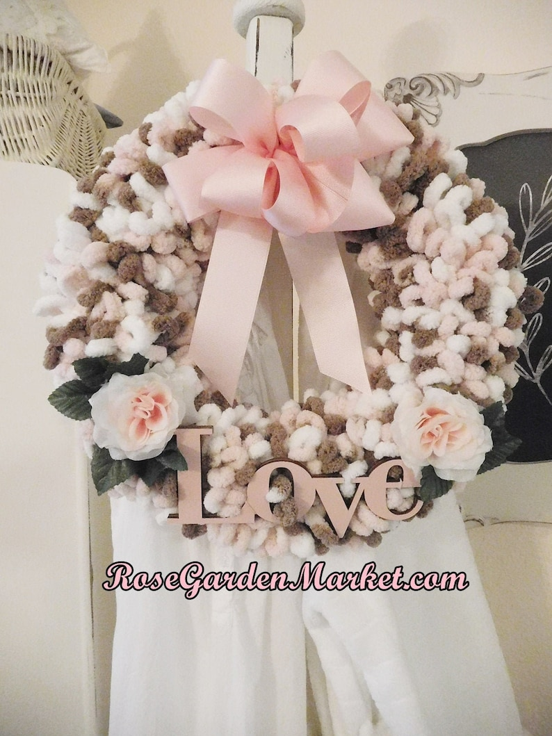 Loopy Yarn Love Wreath Hand Created and Painted Shabby Chic image 0