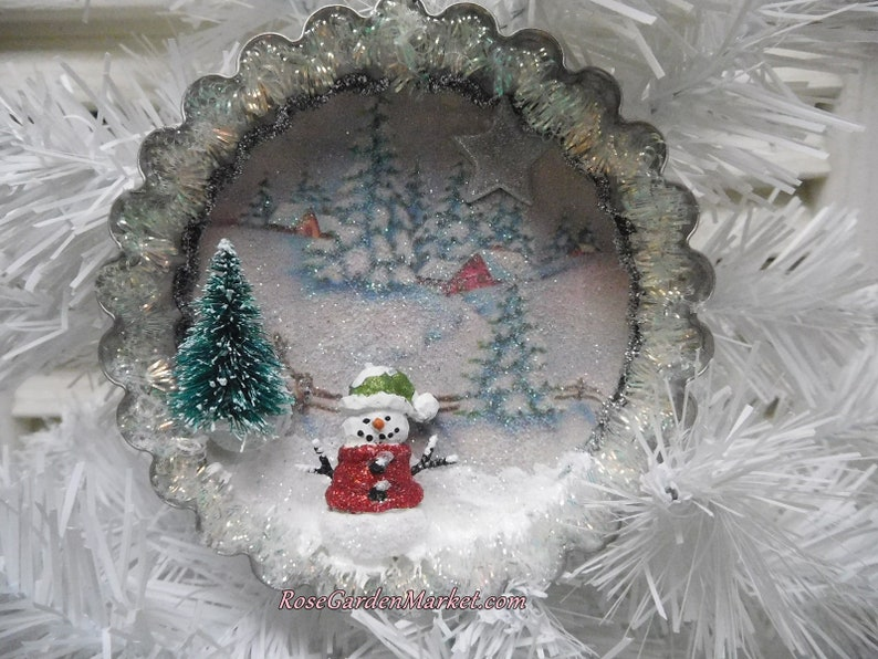 Vintage Tin Mold Hand Created Winter Snow Scene in the image 0