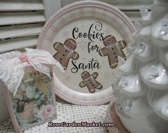 Cookies for Santa, Round Metal Light Weight Catering Tray, Hand Painted, Holiday Decor, Bakery Display, Shelf Accent, Kitchen Decor,