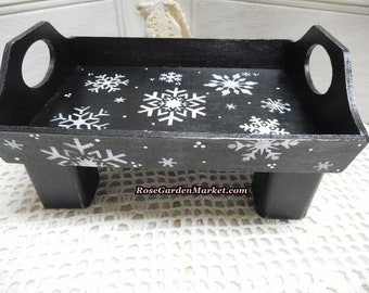 Wood Tray Riser with Snowflakes on Black Background, Square Block Feet, Lift, Christmas Display, Winter Display, Holiday Decor, Hand Painted