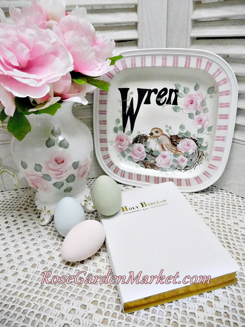 Metal Wren Plate with Bird in a Rose Nest Hand Painted Pink image 0