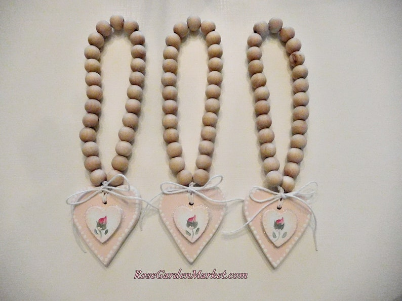 Beads and Hearts 3pc Set Hand Painted Light Pink with Rose image 0