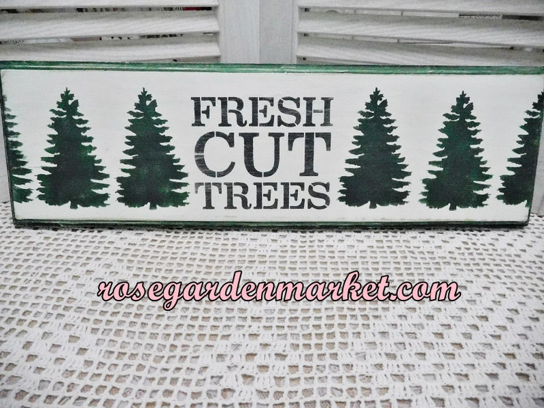 Fresh Cut Trees Wood Sign Routed Distressed Wall or Shelf image 0