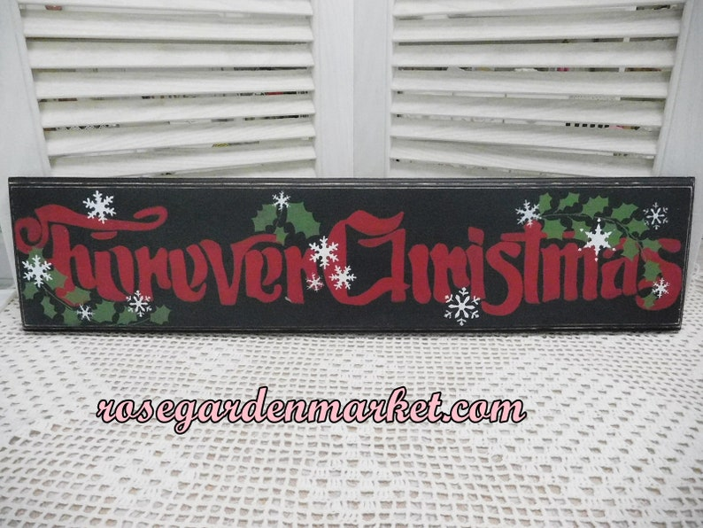 Forever Christmas Hand Cut and Painted Wood Wall Sign image 0