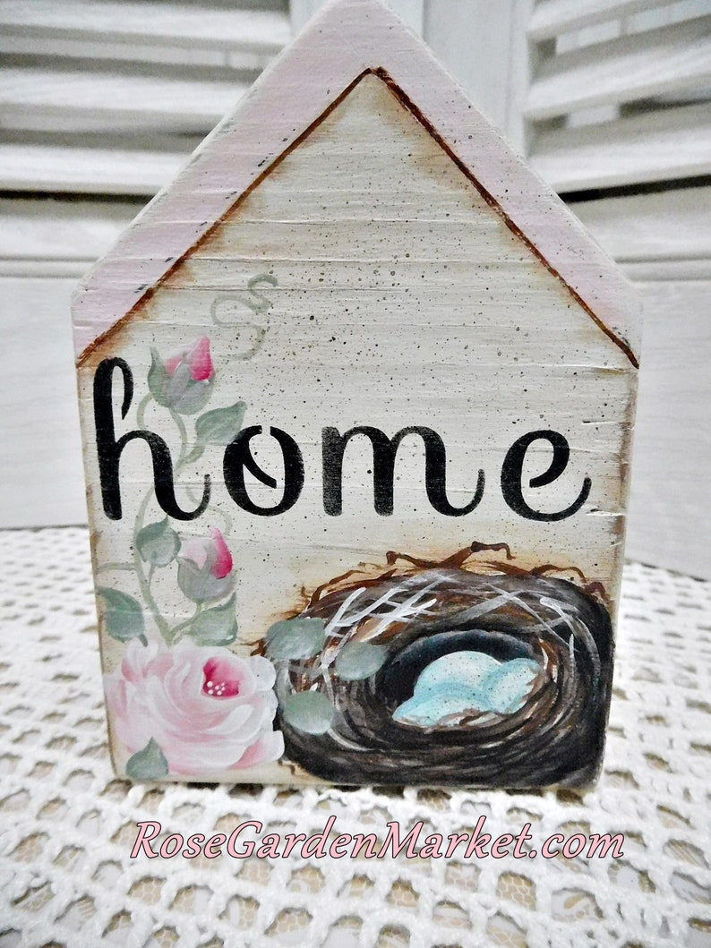 Home Hand Cut Wood Pink Block House with Hand Painted Nest image 0