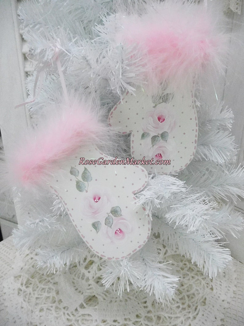 Christmas Rose Mitten Set Ornament Display Hand Painted Pink image 0