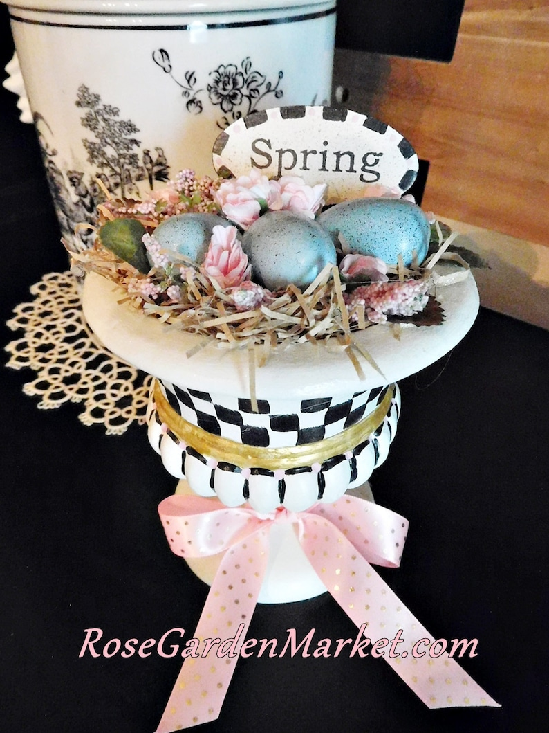 Stately Checked Springtime Display Pot with Robin's Eggs image 0