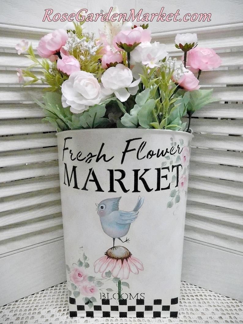 Fresh Flower Market Blooms Hand Painted Metal Wall Door Urn image 0