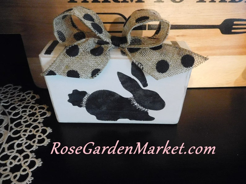 Black Bunny HandCut Block and Painted Shelf Sitter Easter image 0