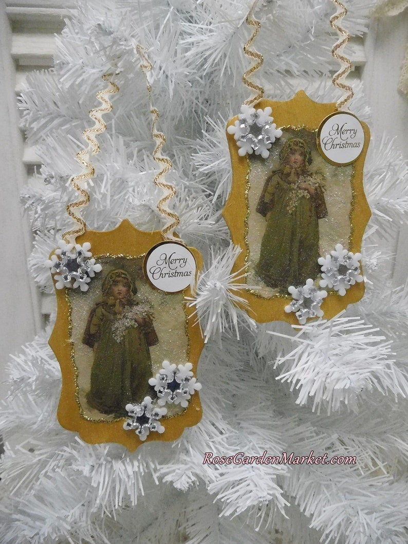 Christmas Girl Wood Ornament 2pc Set Shimmer Gold with image 0