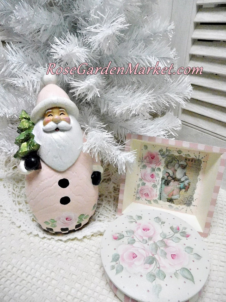 Pink Coat Santa Figurine Hand Painted with Stately Checks image 0