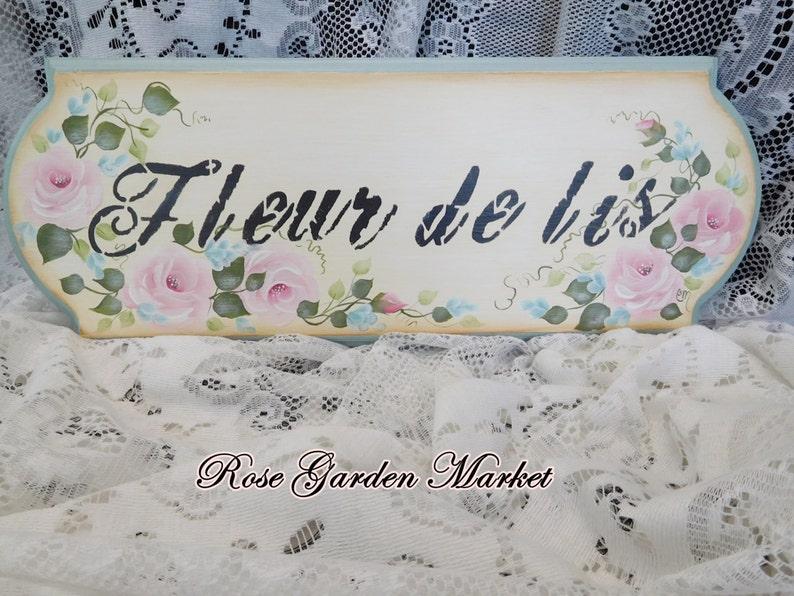 Fleur De Lis Roses and Aqua Flowers Wood Sign Hand Painted image 0