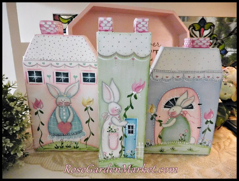 Spring Bunny 3pc Set Wood Shabby Cottages Hand Painted image 0