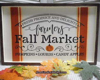 Fall Market Sign, Framed Wood, Hand Painted and Designed, Grain Sack Accent, Traditional Fall Colors, Brown Frame, Seasonal Wall Decor