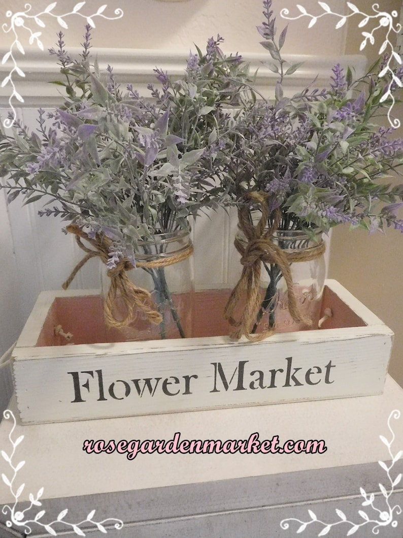 Flower Market Wood Box Handmade Painted Stenciled End Rope image 0